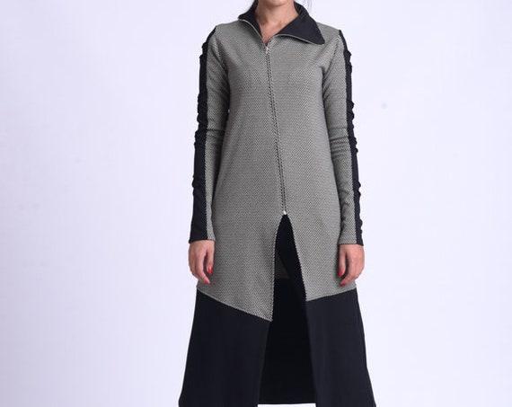 NEW Long Loose Cardigan/A Line Tunic Top/Collared Warm Top/Oversize Long Tunic/Cozy Zipper Tunic/Casual Comfortable Pocket Tunic METT0173