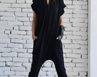 Black Casual Jumpsuit/Loose Maxi Jumpsuit/Tight Leg Jumpsuit/Sleeveless Black Jumpsuit/Extravagant Summer Onepiece/Harem Pants Suit