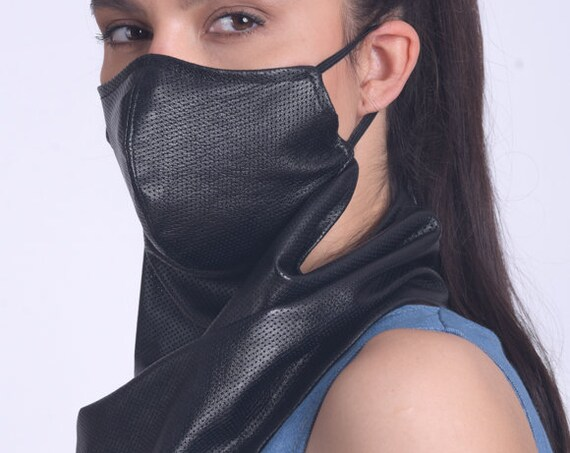 Genuine Leather Bandana/Extravagant Long Face Cover/Black Neck Gaiter/Black Safety Balaclava/OEKO Filter Face Mask/Black Leather Scarf Mask