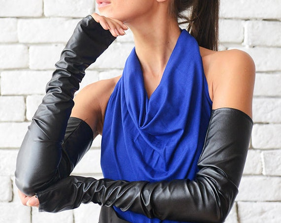 Black Leather Gloves/Sexy Accessories/Long Black Gloves/Fingerless Gloves/Gothic Accessories/Formal Evening Gloves/Black Leather Mittens