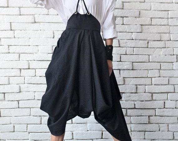Asymmetric Linen Skirt/Long Short Extravagant Skirt/Black Loose Skirt/Jumpsuit Skirt with Suspenders/Oversize Black Shirt/Modern Skirt