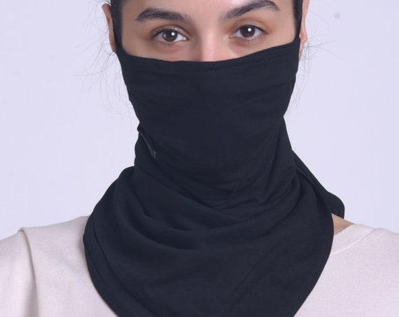 Black Long Safety Mask/Cloth Face Cover/Viscose Bandana Mask/Face Scarf/Black Neck Gaiter/Face and Neck Balaclava/Washable Everyday Mask