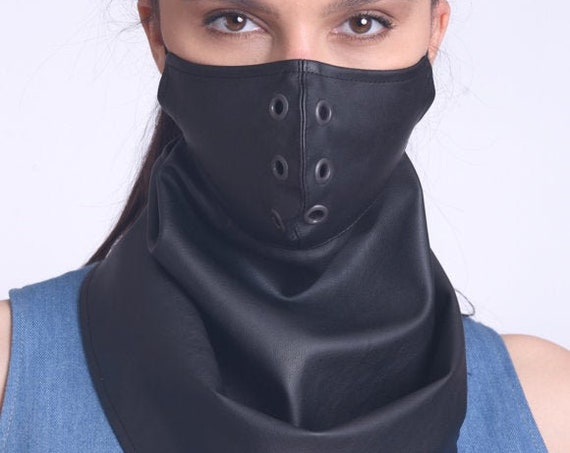 Black Studded Face Cover/Protective Bandana/Leather Balaclava Mask/Washable Face Mask/Mask with Filter/Neck Gaiter/Elastic Ear Loops Mask