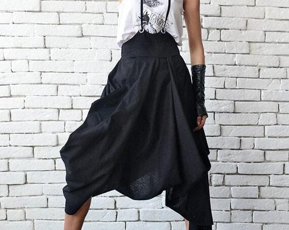 Black Loose Skirt/Linen Casual Skirt/Asymmetric High Waist Skirt/Midi Linen Summer Skirt/Extravagant Jumpsuit Skirt/Elastic Black Skirt