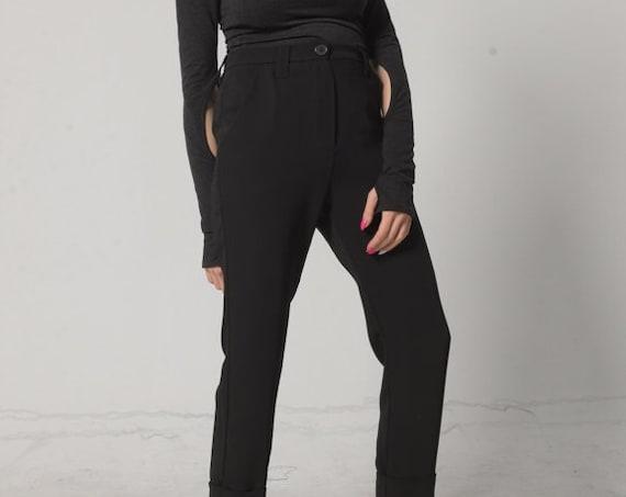 NEW Womens Drop Crotch Pants / Harem Trousers / Black Harem Pants /Straight Pants / Black Cigarette Pants / Elegant Pants