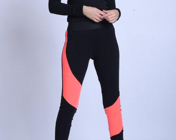 META SPORT Long Tight Neon Leggings/Elastic Waist Pants/Jogger Leggings/Neon Yoga Pants/Comfortable Casual Pants/Long Tight Leggings Neon