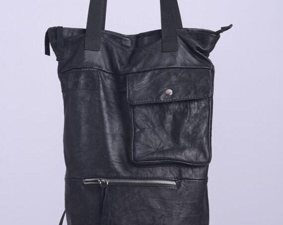 NEW Genuine Leather Bucket Bag/Multi Pockets Shoulder Bag/Long Maxi Bag/Extravagant Wrinkled Backpack/Lined Black Bag/Multiple Handles Bag