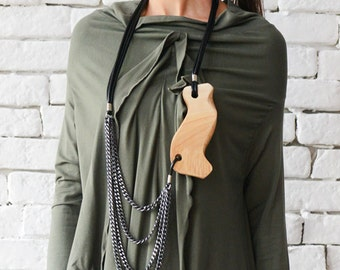 Extravagant Chain Necklace/Wood and Black Leather Accessory/Statement Necklace/Urban Style Jewelry/Long Black Necklace/Casual Pendant