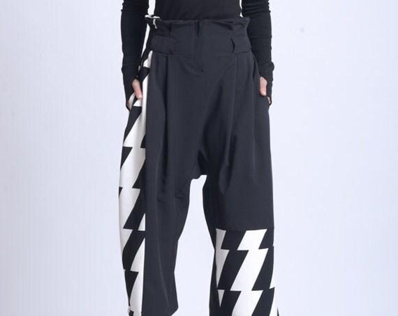 NEW High Waist Loose Pants/Extravagant Monochrome Pattern Pants/Wide Leg Calf Length Trousers/Black and White Maxi Pants/3/4 Loose Pants