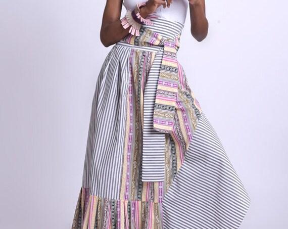 Stripe and Pattern Skirt/Extravagant Colorful Skirt/High Waist Long Skirt/Multi Color Asymmetric Skirt/Loose Long Skirt