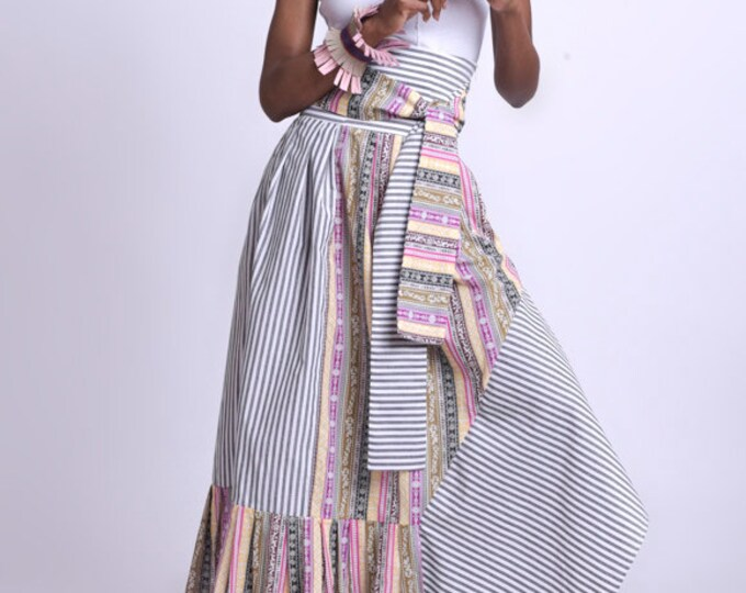 LIMITED EDITION Stripe and Pattern Skirt/Extravagant Colorful Skirt/High Waist Long Skirt/Multi Color Asymmetric Skirt/Loose Long Skirt