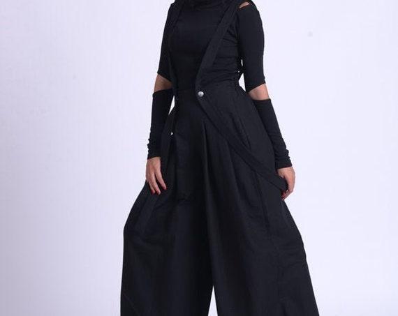 NEW Black Wide Leg Maxi Pants/Oversize Pants with Suspenders/Long Loose Casual Pants/ Black Palazzo Pants METP0070