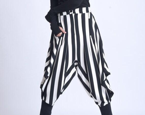 NEW Black and White Harem Pants/Stripe Maxi Pants/Drop Crotch Monochrome Pants/Oversize Trousers/Fitted Calf Pants/Fallen Bottom Pants