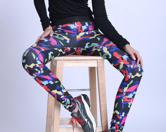 META SPORT Extravagant Multi Color Yoga Pants/Colorful Jogger Leggings/Elastic Waist Casual Pants/Comfortable Everyday Leggings/Sports Pants