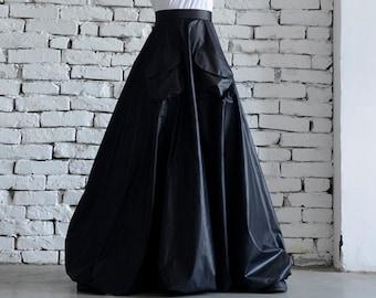 Maxi Black Skirt/Long Casual Skirt/Oversize Long Skirt/High Waist Skirt/Pocket Balloon Skirt/Elegant Dinner Skirt/Black Long Cotton Skirt