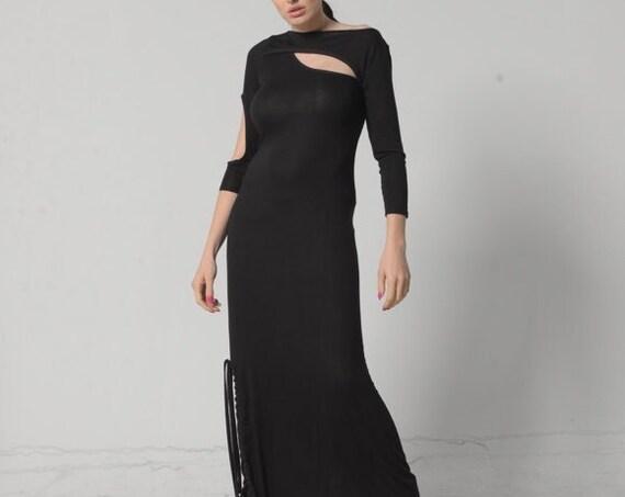 NEW Long Open Back Dress / Long Sleeve Dress / Long Black Gown / Maternity Dress