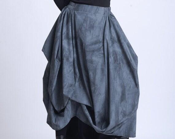 NEW Loose Maxi Skirt/Asymmetric Pattern Skirt/Plus Size Maxi Skirt/Extravagant Pattern Skirt/Casual Oversize Skirt/Elastic Waist Skirt