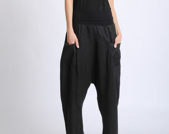 Black Plus Size Pants/Long Maxi Pants/Linen and Cotton Baggy Pants/Oversize Loose Trousers/Casual Comfortable Pants/Black Everyday Pants