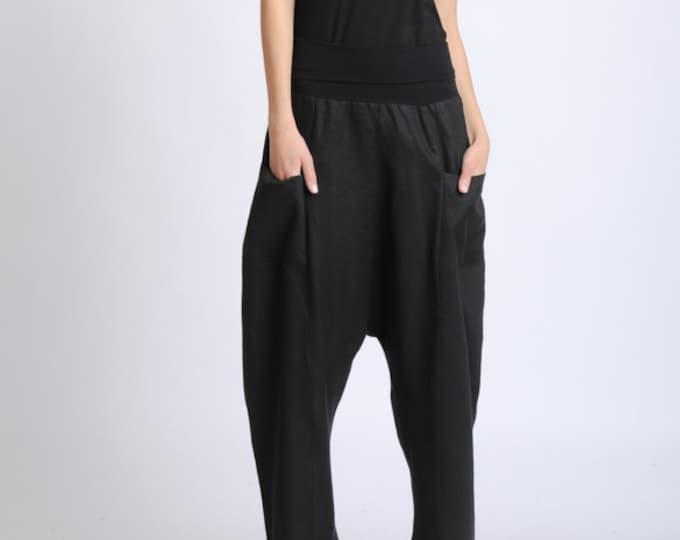 NEW Black Plus Size Pants/Long Maxi Pants/Linen and Cotton Baggy Pants/Oversize Loose Trousers/Casual Comfortable Pants/Black Everyday Pants