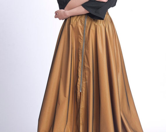Elastic Waist Caramel Skirt/Long Maxi Skirt/Long Zipper Skirt/Loose Casual Skirt/Mustard Plus Size Skirt/Extravagant Mesh Skirt METSk0027