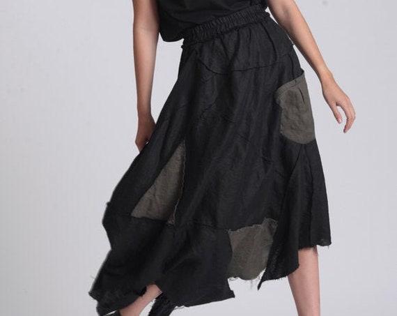 NEW Boho Gypsy Skirt / Linen Patchwork Skirt / Hippie Maxi Skirt / Elastic Waist Skirt