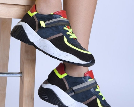 META SPORT Neon Color Sneakers/Extravagant Athletic Shoes/Thick Sole Sneakers/Laced Sneaker Shoes/Comfortable Gym Footwear/Multi Color Shoes