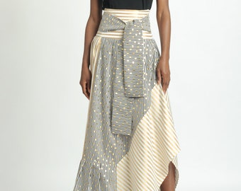 LIMITED EDITION Gold Pattern Stripe Skirt/Extravagant Asymmetric Skirt/Skirt with Front Ribbon/Loose Long Dotted Skirt/Multi Color Skirt