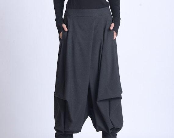 NEW Plus Size Pants/Oversize Black Trousers/Drop Crotch Pants/Black Skirt Pants/Casual Harem Pants/Black Maxi Pants/Everyday Gypsy Pants