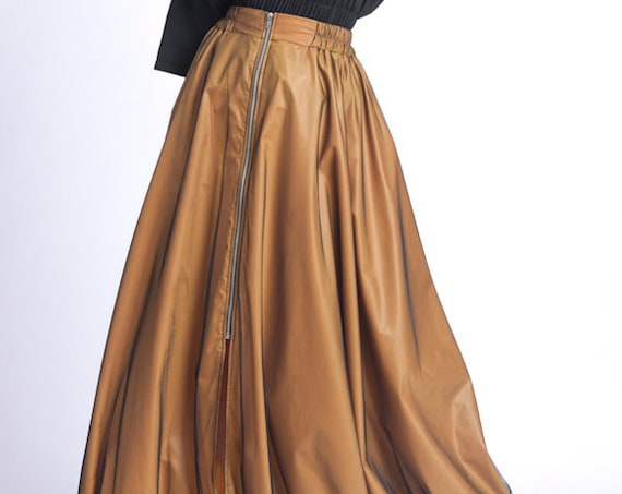 NEW Extravagant Loose Skirt/Long Oversize Mesh Skirt/Elastic Waist Casual Skirt/Adjustable Hem Skirt/Dark Mustard Zipper Skirt METSk0027