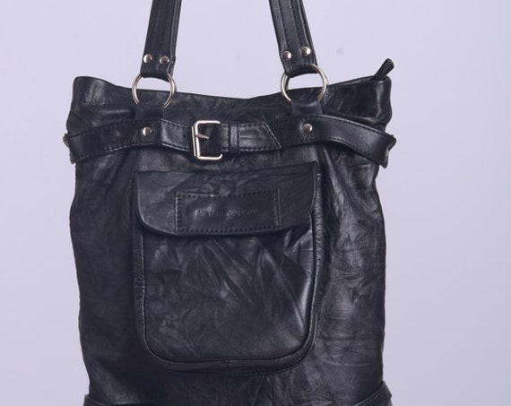 NEW Black Genuine Leather Bag/Everyday Bucket Bag/Casual Tote Bag/Wrinkled Shoulder Bag/Leather Bag with Lining/Black Zipper Handbag