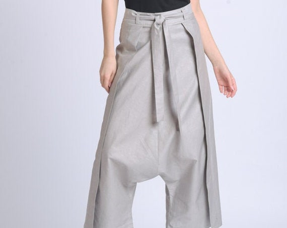 NEW Grey Maxi Pants/Extravagant Loose Capris/Low Waist Zipper Pants/Wide Leg Trousers/Casual Long Pants/Calf Length Pants METP0067
