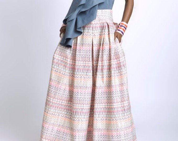 LIMITED EDITION Pink Colorful Pattern Skirt/Long Loose Skirt/African Print Maxi Skirt/Plus Size Skirt/Casual Multi Color Skirt/Long Skirt