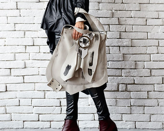 Extravagant Asymmetric White Bag/Genuine Leather Tote/Large White Shoulder Bag/Cross Body Bag with Adjustable Straps/Leather Handmade Purse