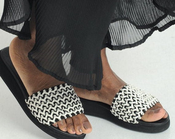 40% OFF Black and White Flat Sandals/Genuine Leather Slide Sandals/Leather Summer Shoes/Natural Leather Sandals/Pattern Color Flats