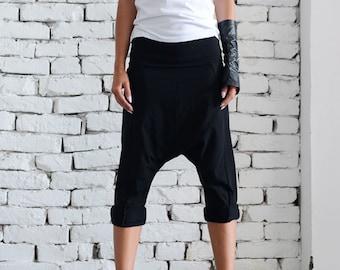 915c7a3975e Black Drop Crotch Pants Extravagant Loose Shorts Black Harem Pants Plus Size  Maxi Pants Casual Yoga Pants Black Workout Pants