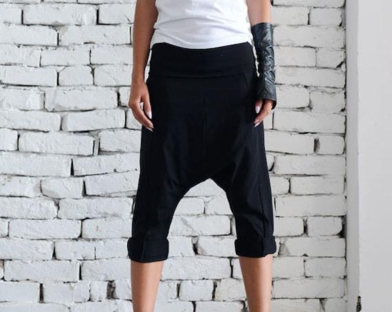 Black Drop Crotch Pants/Extravagant Loose Shorts/Black Harem Pants/Plus Size Maxi Pants/Casual Yoga Pants/Black Workout Pants METP0023