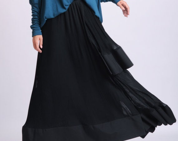 NEW Black Pleated Skirt/Long Loose Skirt/Chiffon Black Skirt/Casual Skirt/Extravagant Skirt with Wide Hem/Elastic Waist Fashionable Skirt
