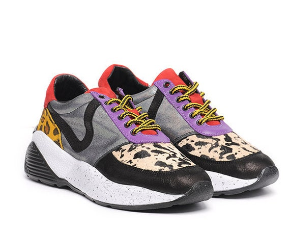 META SPORT Multi Color Sneakers/Casual Everyday Shoes/Animal Print Shoes/Comfortable Gym Shoes/Genuine Leather Sneakers/Extravagant Shoes