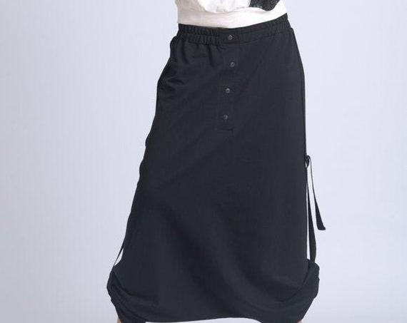 NEW Plus Size Black Skirt Pants/Oversize Long Loose Skirt/Black Maxi Pants/Elastic Waist Pants/Extravagant Casual Skirt Pants METP0065