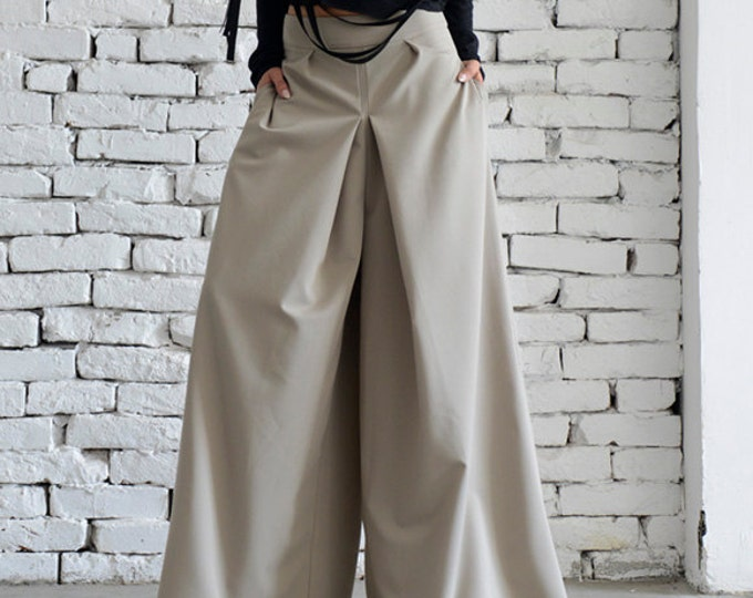 Beige Maxi Pants/Wide Led Long Trousers/Formal Woman Pants/Loose Beige Pants/Elegant Pocket Pants/Oversize Casual Pants by METAMORPHOZA