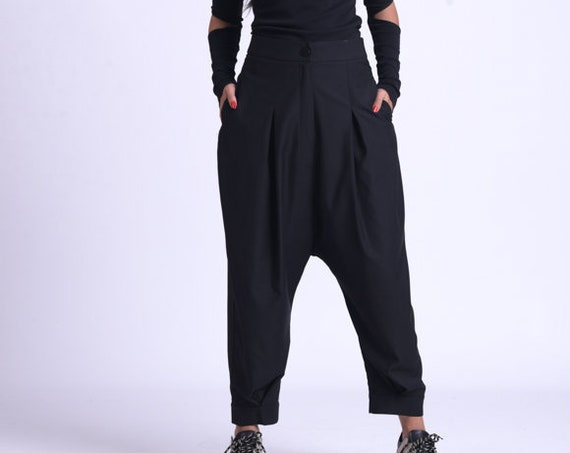 NEW Black Loose Pants/Oversize Long Pants/Wide Leg Trousers/Casual Everyday Pants/Black Maxi Pants/Drop Crotch Black Pants METP0069