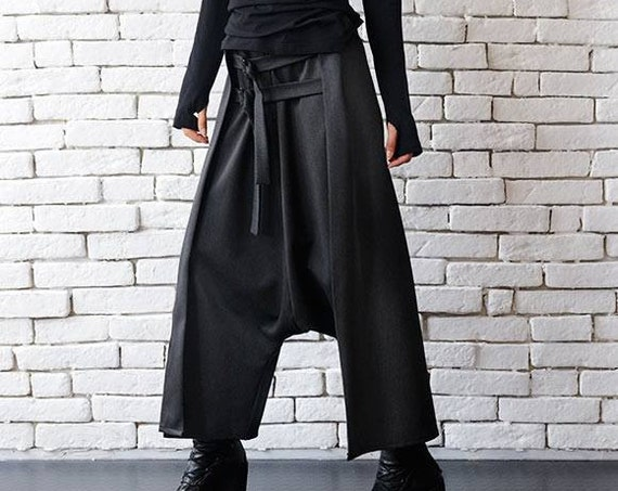 Grey Maxi Pants with Belts/Extravagant Oversize Harem Pants/Drop Crotch Woman Pants/Fallen Bottom Pants/Extravagant Loose Pants  METP0043