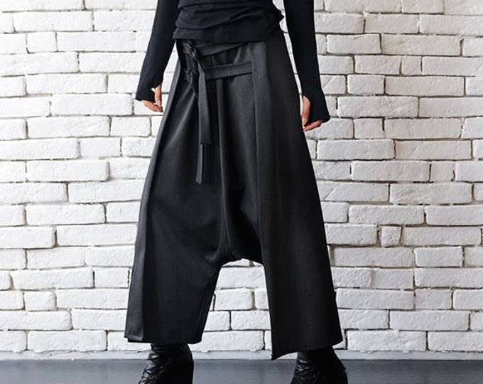 Grey Maxi Pants with Belts / Extravagant Oversize Harem Pants / Drop Crotch Woman Pants by METAMORPHOZA