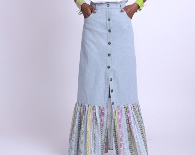 LIMITED EDITION Colorful Skirt with Denim/Long Light Blue Jean Skirt/Extravagant Multi Color Skirt/Long Button Skirt/Party Skirt with Accent