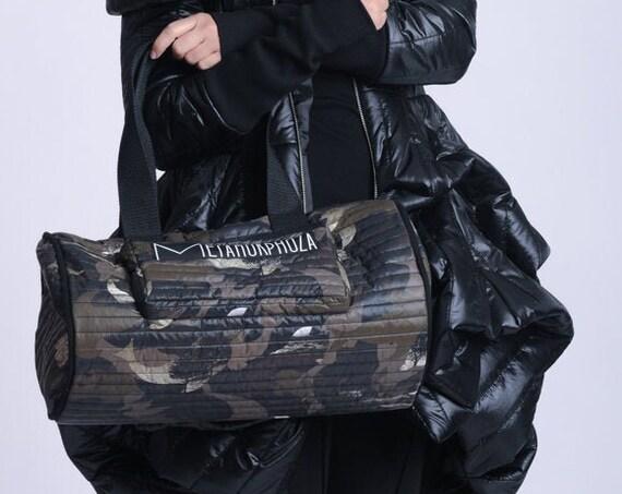 NEW Camouflage Duffle Bag/Extravagant Large Handbag/Pattern Print Shoulder Bag/Oversize Round Purse/Oversize Tote Bag/Casual Sport Bag