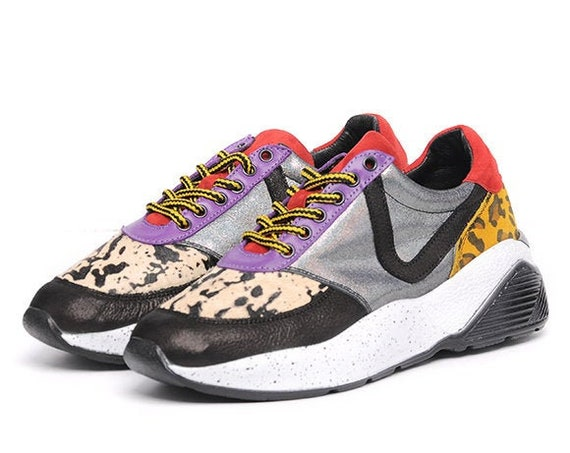 Leopard Print Shoes/Extravagant Multi Color Sneakers/Gym Shoes/Jogging Shoes/Casual Comfortable Shoes with Laces/Everyday Footwear