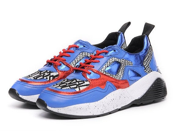 Extravagant Blue Shoes/Sport Casual Sneakers/Comfortable Gym Shoes/Extravagant Flats/Blue Shoes with Red Laces/Everyday Fashionable Sneakers