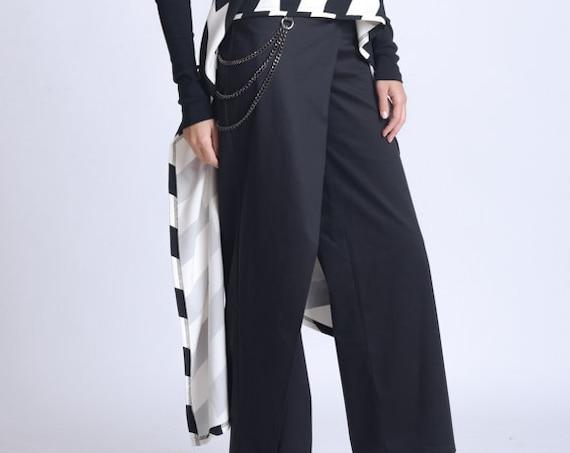 NEW Long Black Pants/Wide Leg Trousers/Pants with Chain Accent/Elegant Long Trousers/Chain Detail Pants/Extravagant Asymmetric Pants