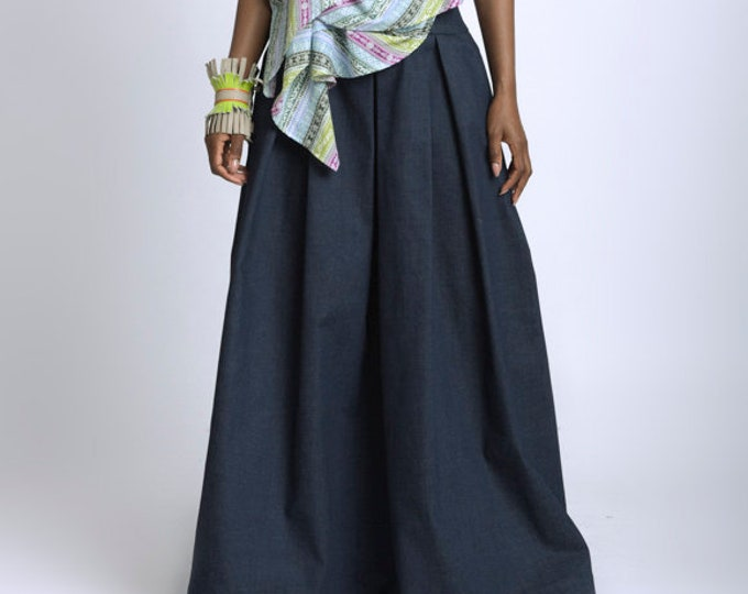 LIMITED EDITION Long Loose Denim Skirt/Denim Maxi Skirt/Dark Blue Denim Oversize Skirt/Casual Everyday Skirt/Plus Size Skirt/Zipper Skirt