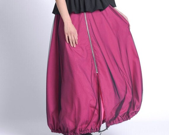 NEW Fuschia Long Loose Skirt/Elastic Waist Skirt/Pink Maxi Skirt with Mesh/Oversize Zipper Skirt/Casual Everyday Plus Size Skirt METSk0027